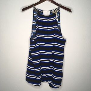 Michael Kors Blue Striped Halter Tank Size 16 NWT